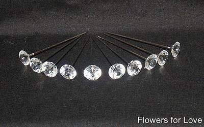 10 Diamantie Lapel Pins For Corsage's, Button Holes Free Post
