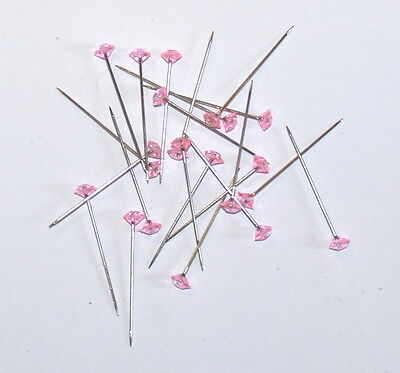 20 x 37mm PINK DIAMANTIE LAPEL PINS FOR CORSAGE'S, BUTTON HOLES ETC