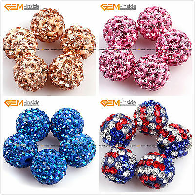 10mm Round CZ Crystal Rhinestones Pave Clay Disco Ball 10 Pcs ,6 Colors Pick