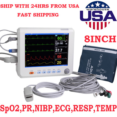 7'' ICU CCU 6-Parameter Vital Sign Patient Monitor ECG/NIBP/SPO2/TEMP/RESP/PR