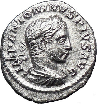 ELAGABALUS Bisexual Emperor Ancient Silver Roman Coin Fortuna Luck Wealth i29364