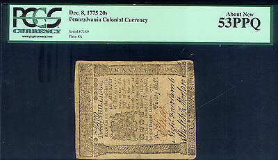 Pennsylvania 20 S December 1775 Signed Price Fairlamb & Morton Slab Grade 53 Ppq