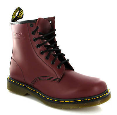 Dr Martens Leather 1460 Cherry Red 8 Eye Lace Mens Casual Smart Boots Uk 6-13