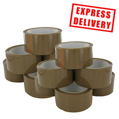 12 Rolls buff brown Parcel tape 48mmx66m Packaging Packing BOX SEALING STRAPPING