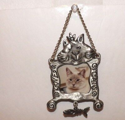 """Hanging Cat Picture Frame For A Photo~Pewter With Chain & Fish 5-1/2"""" Long~Kitty"""