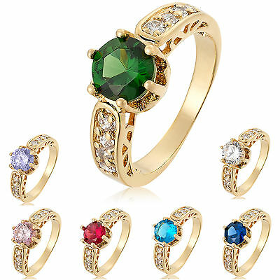 50% OFF Fashion Lady Jewelry 7 Colors Round Cut Yellow Gold Plated Cocktail Ring