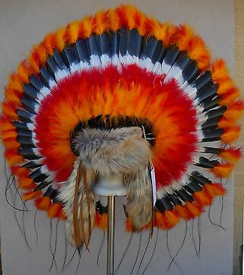 "Genuine Native American Navajo Indian Headdress 36"" SUNBURST TRADITIONAL"
