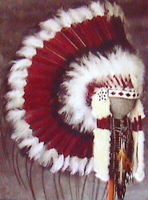 "Genuine Native American Navajo Indian Headdress 36"" SACRED MESA TRADITIONAL"