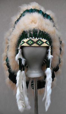 "Genuine Native American Navajo Indian Headdress 36"" MEADOW TRADITIONAL Green"