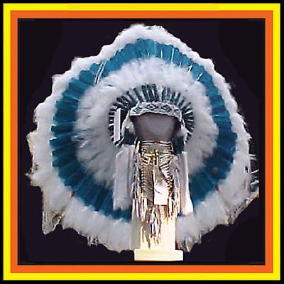 "Genuine Native American Navajo 36"" Indian Headdress EVERGREEN FOREST TRADITIONAL"