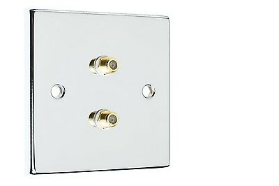 Polished Chrome 2x Satellite Coax Wall Plate  Easy Fit Type F Connections