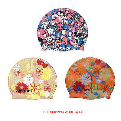 Adult Children Silicone Swim Swimming Hats Caps Floral And Fun Hats New
