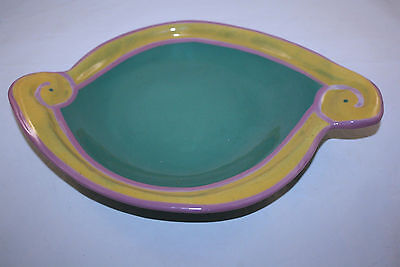 1980'S CYCLAMEN POTTERY JULIE SANDERS fish and FLOWER line PLATTER-PLATE
