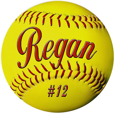 """2- Softball Decals Bumper Stickers 4"""" Personalize Gifts Girls Boys Teams Sports"""