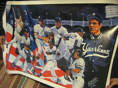 """New York Yankees """"AN AMERICAN TRADITION""""  Signed Lithograph Litho by EDGAR BROWN"""