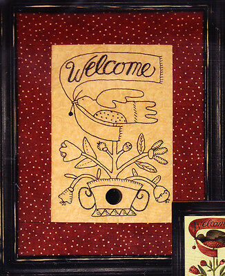 PATTERN - Welcome -  pieced & redwork stitchery PATTERN - ideal to frame