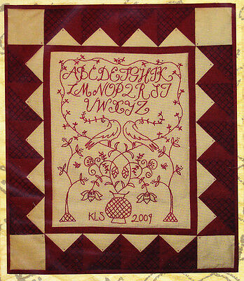 PATTERN- Redbird Sampler - pieced & stitchery wall quilt PATTERN - Kathy Schmitz