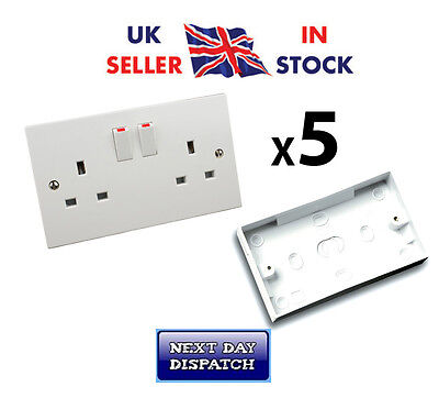 5x 2 Gang Socket Double Switched White Wall and 25mm Surface Pattress Back Box