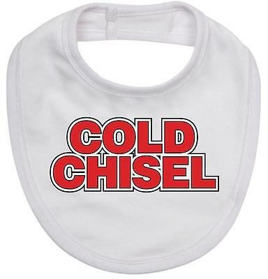 BABY BIB white cotton printed with COLD CHISEL logo on quality Baby Bib