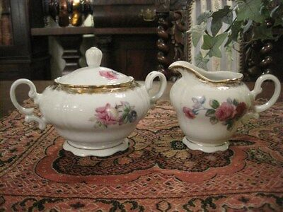 Rare Sun Goat DNK Pottery Porcelain Sugar & Creamer Floral Quality Pair China