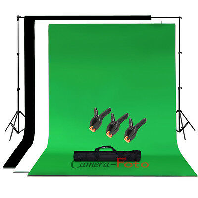 Photo Background Kit Support Stand White Black Green Chroma Key Backdrop Clamps