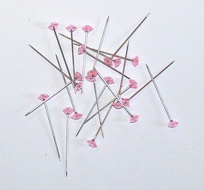 BOX OF 100 x 37mm PINK DIAMANTIE  PINS FOR CORSAGE'S, BUTTON HOLES FREE POST