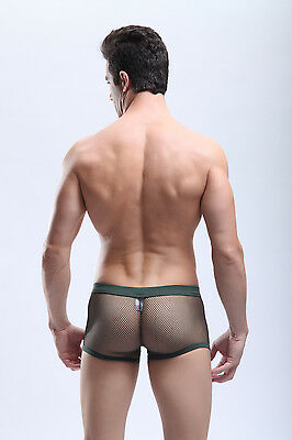 Boxer taille XL vertkaki maille transparent Manview by NEOFAN sheer sexy Ref M06