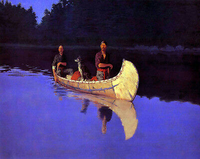 Remington Frederic Evening On A Canadian Lake Canvas  #3076