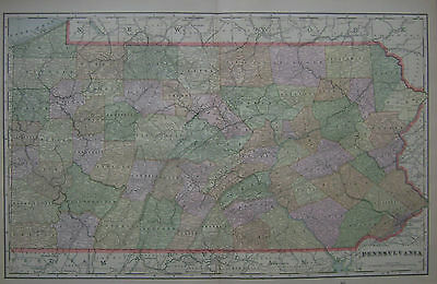 1898 Pennsylvania Large 2-page Original Color Atlas Map**  ...115 years-Old!