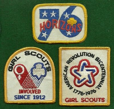 VINTAGE GIRL SCOUT Patches - Three National Bicentennial Official Patches