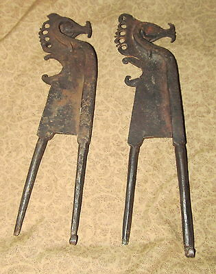 Pr Tribal  Antique Indonesian S.E. Asian Iron Bettle Nut Cutters with Sea Horse