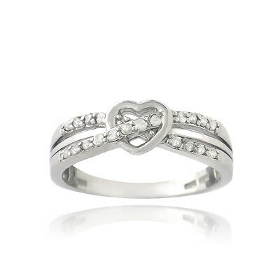 925 Silver 1/5ct Diamond Twist & Heart Promise Ring