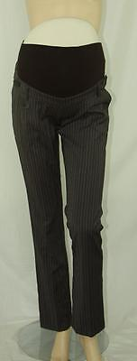 New OH MA MATERNITY Over Belly Tailored PINSTRIPE PANTS M 8/10 Career Slacks