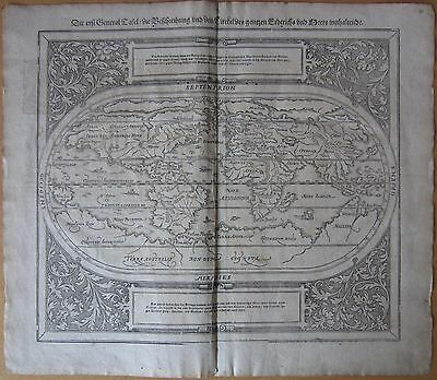MÜNSTER/MUNSTER: Cosmographia Large Decorative Worldmap  - 1628
