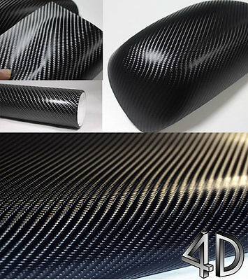 4D Carbon Fibre Glossy Textured Vinyl Sheet Sticker Air Free Bubble Car Wrap