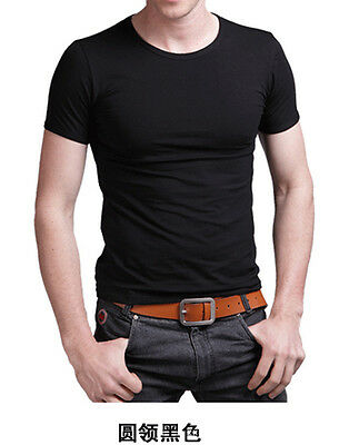 Fashion High elastic Lycra Cotton Men Short Sleeves O Neck Slim Tight T Shirt