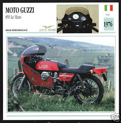 1976 Moto Guzzi 850cc Le Mans (844cc) Italy Motorcycle Photo Spec Info Stat Card