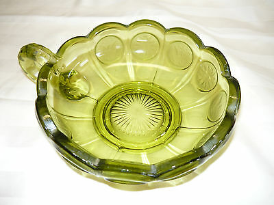 """Green Fostoria Coin Glass Compote / Comport 2"""" high Very Good Condition No Chips"""