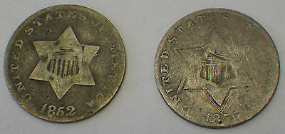 Lot Of 2 Silver Three Cent Nickles 1852, 1856