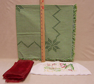 Vintage Linen Embroidered Toaster Cover Sheer Red Napkin & Tablecloth Lot of 3