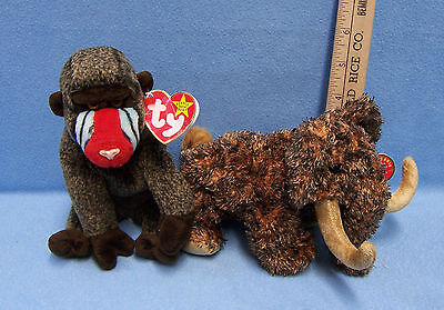 Rare Retired Ty Beanie Babies Giganto Wooly Mammoth Cheeks Baboon lot of 2