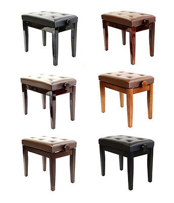 Piano Stool- Prima adjustable - LUXURIOUS Seat + Solid Wood - Variety Of Colours