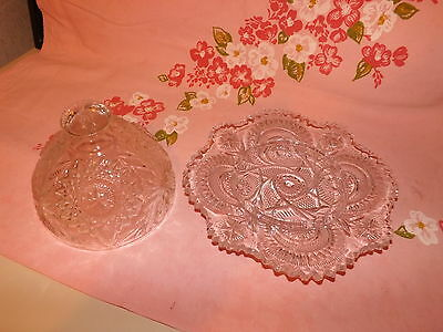 ANTIQUE VINTAGE GLASS COVERED BUTTER/CHEESE DISH~STARS~SUNBURST PATTERN