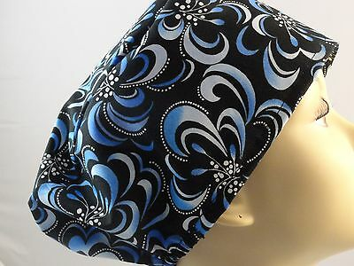 WOMENS SURGICAL_SCRUB HAT_shades of blue_flowers_black_new_cotton_beautiful