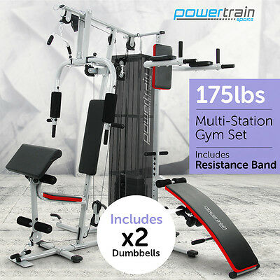 Multistation Home Gym Exercise Equipment Total Workout Fitness Weights