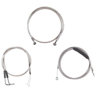 """Stainless +4"""" Cable & Brake Line Bsc Kit 2007-2015 Harley-Davidson Softail NoABS"""