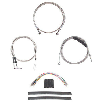 """Stainless +6"""" Cable & Brake Line Cmpt Kit 2006-2017 Harley-Davidson Dyna No ABS"""