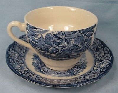 Liberty Blue Cup & Saucer Old North Church Staffordshire Vintage Lovely (O)