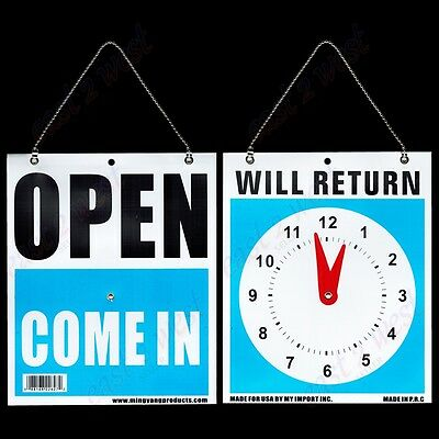 "12 OPEN COME IN Back WILL RETURN Moveable CLOCK  W/ Hanging Chain 7.5""x 9"" Sign"