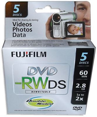 5-Pak FujiFilm 8cm Mini DVD-RW 2.8GB 60-Min fits Sony/Canon in Mini Jewel Case
